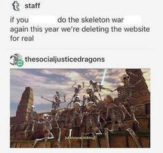 Skeleton wars Spooky Memes, Spooky Scary, Best Memes, Funny Memes, Funny Tweets, Funny Cute, Hilarious, Fandoms, Tumblr Stuff
