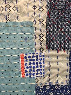 Japanese Embroidery Sashiko Shiho MUNAKATA Gorgeous layered patchwork fabric with sashiko stitching. Sashiko Embroidery, Japanese Embroidery, Hand Embroidery Designs, Embroidery Applique, Embroidery Stitches, Embroidery Books, Embroidery Supplies, Embroidery Patterns, Japanese Quilts