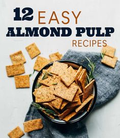 Do you enjoy homemade almond milk, but aren't sure what to do with the leftover pulp? This round up is for you! Two Ways to Use Almond Pulp Make the almond pulp into almond meal by drying it in… Almond Cracker Recipe, Almond Flour Recipes, Milk Recipes, Baking Recipes, Whole Food Recipes, Vegan Recipes, Juicer Recipes, Salad Recipes, Salads