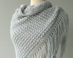 Knit Shawl  Organic cotton Silver grey Shawl - Grey shawl knitted cotton