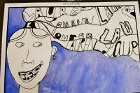 """Kid'folio blog - November 2009.   3rd grade.   This turned out to be my favorite Art Fair project, I wish I could show more examples! Each student had to write his or her name (in their exaggerated hairstyle) with at least 5 different fonts. We discussed how they were """"selling"""" their image and should think about what the viewer would see. We used sharpie marker and watercolor. Each student chose one his or her favorite color for the background and mirrors to study the characteristics of…"""