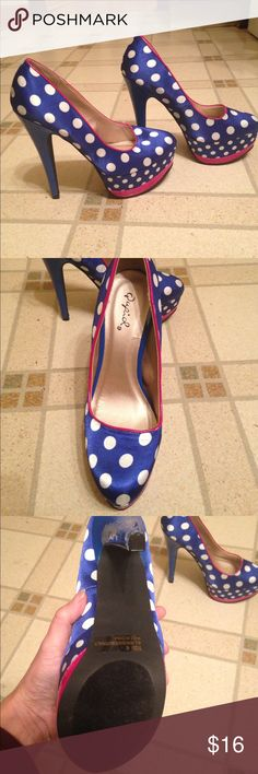 Polkadot high heel shoes Brand-new without a box blue polkadot high heel shoes with pink detail smoke-free pet free home Charlotte Russe Shoes Heels