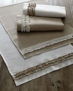 Side-Ruffle Table Linens at Horchow.