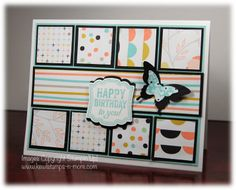 """handmade birthday card from """"Kewl""""stamps-n-more ... patterned paper inchies matted in black ... pretty pastels contrast with black ... like the layout design too ...Stampin'Up!"""