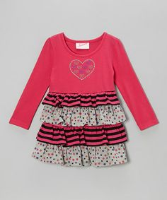 Take a look at this Pink Heart Tiered Dress - Infant, Toddler & Girls by Samara on #zulily today!
