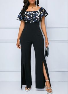 Bottoms For Women Printed Jumpsuit, Black Jumpsuit, Split Legs, Lace Pants, Trendy Clothes For Women, Jumpsuits For Women, Flower Prints, Plus Size Outfits, Cool Outfits