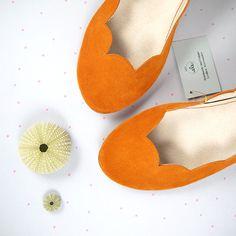 Tangerine Soft Suede Scalloped Handmade Ballet