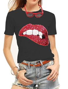 72aaa68c2735 FV RELAY Womens Sequined Glittery Lips Tee Cute Embroidery Tops Funny T  Shirts