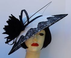 Classic elegance by HAT-A-TUDE.COM  White Black Lace Profile Fascinator