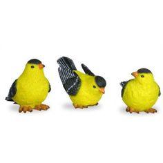 Buy Goldfinch Bird Figurines - Set of 3 at Walmart.com