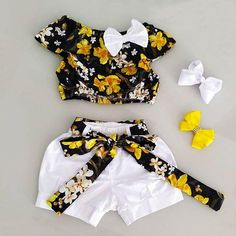 US Toddler Kids Baby Girls Casual Outfits Clothes Floral Tops Sho – Straight Out the Playground Girls Summer Outfits, Cute Girl Outfits, Cute Outfits For Kids, Toddler Outfits, Casual Outfits, Casual Clothes, Baby Girl Party Dresses, Little Girl Dresses, Cute Kids Fashion