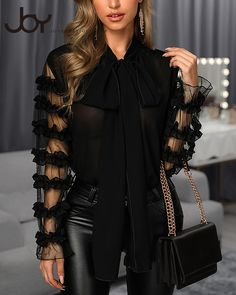 Scarf Neck Long Sleeve Blouse trendiest dresses for any occasions, including wedding gowns, special event dresses, accessories and women clothing. Bordado Floral, Trend Fashion, Queen Dress, Scarf Shirt, Looks Chic, Love Clothing, Neck Scarves, Casual Tops, Casual Shirt