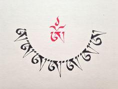 Half mandala letter red OM. - Calligraphy by: Leonardo Ota - E-mail: ota.leonardo@gmail.com - Website: http://caligrafiaartistica.com.br/
