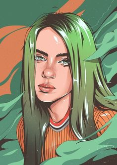 This is a gallery-quality giclèe art print on cotton rag archival paper, printed with archival inks. eilish aesthetic drawing billie eilish by nekhros Portrait Cartoon, Vector Portrait, Digital Portrait, Girl Cartoon, Cartoon Art, Cartoon Logo, Desenho Pop Art, Celebrity Drawings, Digital Art Girl