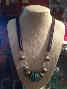 leather necklace with turquoise by WesternAdornmentsCO on Etsy, $58.00