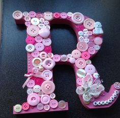 # lovely #letters #gift #present #buttons #butterflies Button Letters, Craft Items, Butterflies, Diy And Crafts, Birthday Gifts, Birthdays, Presents, Buttons, Gift Ideas