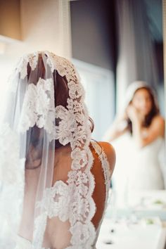 a gorgeous mantilla veil worn by the Bride's mother 40 years ago
