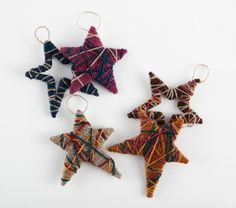 Yarn-wrapped Star Ornaments via Lion Brand Yarn- these would be great for little leftover bits.