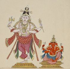 Shiva and Ganesh. 1820, Company School.