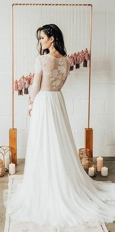 30 Casual Wedding Dresses For Smart Lady ❤ casual wedding dresses a line lace illusion backless long sleeve wear your love xo ❤ See more: http://www.weddingforward.com/casual-wedding-dresses/ #weddingforward #wedding #bride #bridalgown