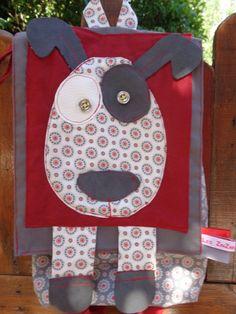 Albert,le chien,sac à dos enfant en tissus coton