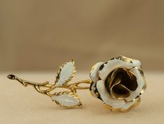 Vintage White and Gold Tone Enameled Rose by DianaKirkpatrickArt