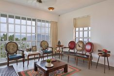 Panchgani Villa | HS Desiigns - The Architects Diary Eclectic Living Room, Eclectic Decor, Living Room Designs, Bed Design, Chair Design, House Design, Home Decor Styles, Cheap Home Decor, Studio Living
