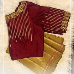 A daily dose of blouse inspirations! Create your very own trousseau tales with blouses by Nazia Syed! Call/Whatsapp at 9790826888 to… Blouse Back Neck Designs, Best Blouse Designs, Simple Blouse Designs, Stylish Blouse Design, Wedding Saree Blouse Designs, Designer Blouse Patterns, Collection, Work Blouse, Embroidered Blouse