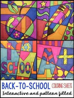 Back to School: Interactive and pattern filled color sheets for four school related symbols. Use these school-themed interactive coloring sheets all year long. Students add bold patterns to different school symbols and then color their designs to produce a Pop Art styled back to school picture!