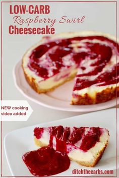 Incredible recipe for low-carb raspberry swirl cheesecake. It's gluten free, grain free, sugar free and perfect for dinner parties. | ditchthecarbs.com via @ditchthecarbs