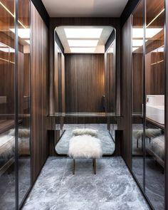 Terrace house: Glass transforms dark Sydney home - The Interiors Addict Luxury Wardrobe, Luxury Closet, Wardrobe Design, Wardrobe Room, Walk In Wardrobe, Modern Closet, Modern Room, Hollywood Mirror, Mansion Kitchen