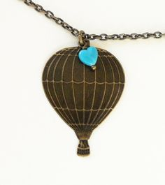 Hot Air Balloon Necklace Antique Brass Necklace by bellamantra, $21.00