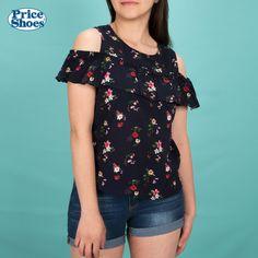 273206b05c276 ¡El sol brilla en todas partes! Blusa estampado en flores y short casual  con dobladillo.  PriceShoes  estampado  flores  short  blusa