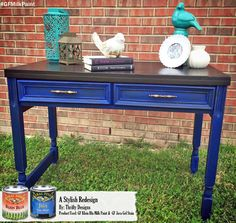 GF Klein Blue Milk Paint and Java Gel Stain are a fabulous combo!  Loving this desk by Thrifty Designs, http://thriftydesigns.wix.com/gentryneely.