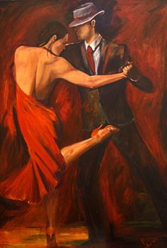 Tango Dancers Art Print on Canvas - Argentine Tango Dancer Painting in Red Dress and Red Shoe- Red and Black Background Art