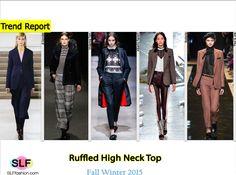 Trendy fashion details for FW 2015: European aristocratic high neck. Victorian style ruffled high neck top. Jil Sander, Vivienne Tam, Alberta Ferretti, Rodarte, and Paul & Joe  Fall Winter 2015.