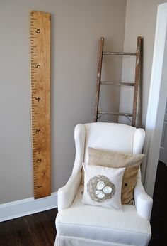 DIY Ruler: turn a 2x4 into a large ruler for the wall & record the height of your kids as they grow.