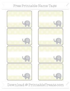 Free Beige Dotted Pattern  Elephant Name Tags