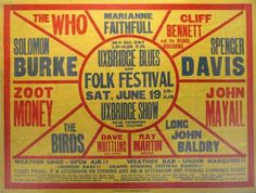 """Vintage Music Art Poster - Uxbridge Blues Festival """"The Who"""" """"Birds"""" L – The Vintage Music Poster Shop Rock Posters, Band Posters, Hippie Posters, Theatre Posters, Spencer Davis, John Mayall, Vintage Concert Posters, Folk Festival, Festival Posters"""