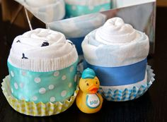 Diaper Cupcakes Baby Shower Gift Baby Boy by pinkstarberries