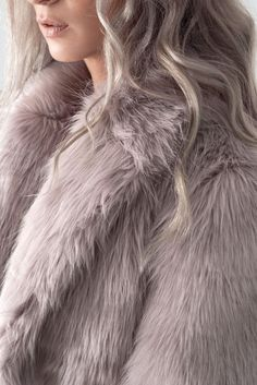 LILAC COLOR HANNA FAUX FUR COAT