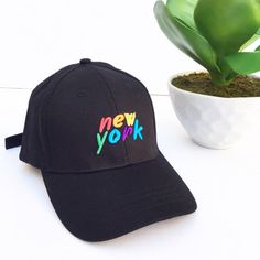 New York Rainbow texte Brandy Melville Tumblr inspiré brodé Baseball Cap casquette de Baseball