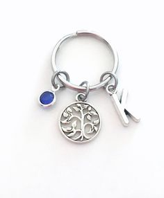 Your place to buy and sell all things handmade Mothers Day Presents, Gifts For Mom, Birthstone Charms, Initial Charm, Key Chains, Birthstones, Antique Silver, Initials, Buy And Sell