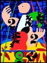 """José de Guimarães - Serigrafia sobre tela, motivo """"O Circo"""", com 74x55 cm"""