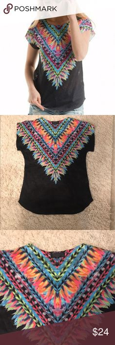 Bright Neon Feathered tee Bright colors on the front and back of the top. Very flattering and comfortable. Could be dressed up or down. I like it with my flared jeans  perfect for spring and summer.  available in sizes Medium and Large ❌trades ✅ bundles welcome  Tops Tees - Short Sleeve