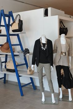 A view of the PureDKNY store in Los Angeles....Love the use of a wooden ladder display in this design....  #mainebucket #woodendisplays