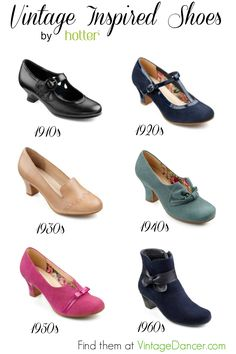 Vintage inspired shoes from 1900s to the 1960s in regular, wide and extra wide sizes. Very comfortable and full of vintage style are Hotter brand shoes.