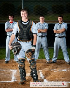 Baseball Catcher: Team Captain Poses with Team in Infield Baseball Senior Pictures, Baseball Photos, Sports Pictures, Senior Pics, Senior Portraits, Senior Year, Baseball Photo Ideas, Senior Posing, Senior Boy Photography
