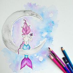 Amethyst Mermaid #livebythemoon #mermaidart #catlover #watercolorpencils