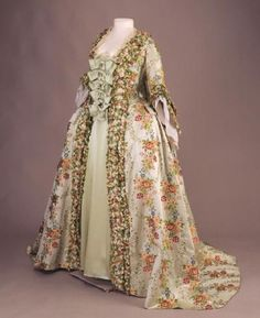 Sack Back gown (robe a la Francaise) ca. 1765, France, Silk satin brocade trimmed with silk fly fringe; lined with undyed linen and silk. (c) de Young, Fine Art Museums of San Francisco